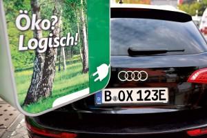 Auto mit E-Kennzeichen an Elektrotankstelle - www.kennzeichenbox.de