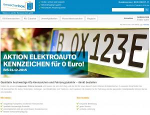 Screenshot der Startseite von www.kennzeichenbox.de, dem Onlineshop für Kfz-Kennzeichen und Zubehör